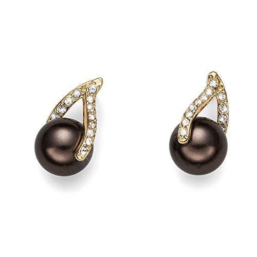Oliver Weber Ohrstecker Wait gold brown pearl with Crystals from Swarovski Damen